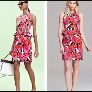 Kate Spade tropical print peplum dress
